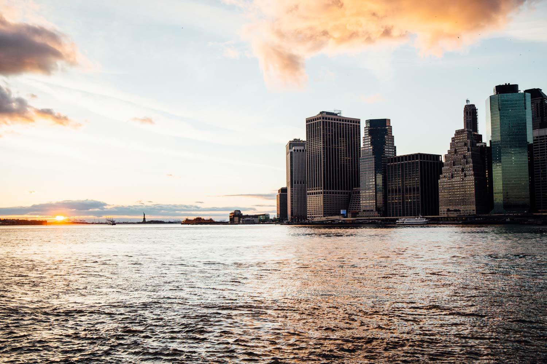 coucher de soleil depuis le pont de Brooklyn