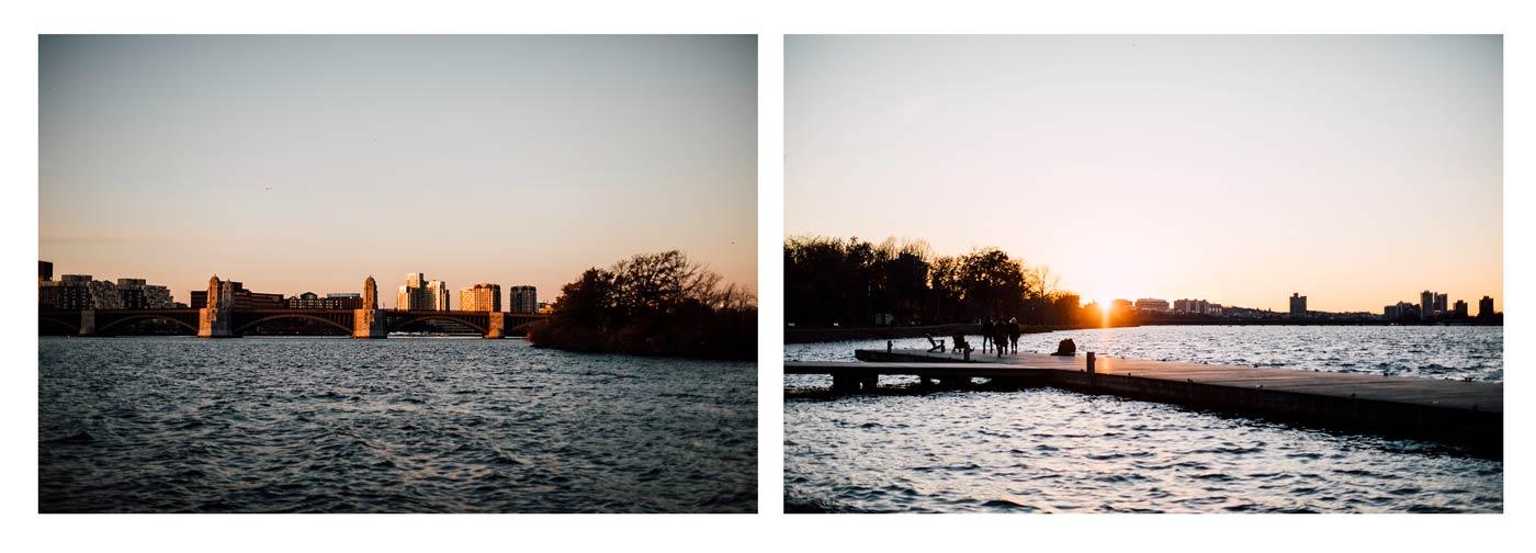 coucher de soleil Boston esplanade