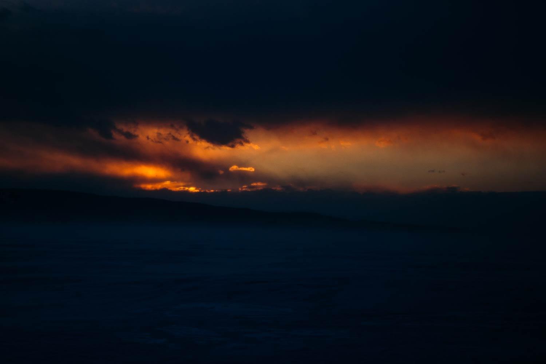 coucher de soleil fjord du Saguenay en hiver