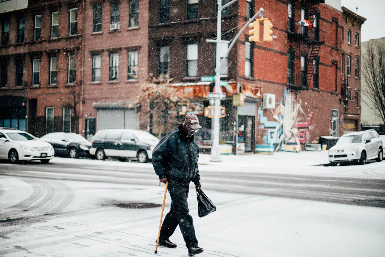 rue de New-York sous la neige