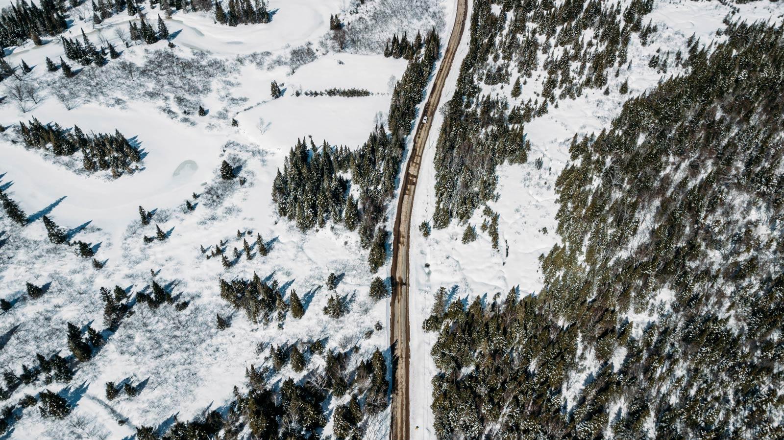 road trip hiver dans les Laurentides