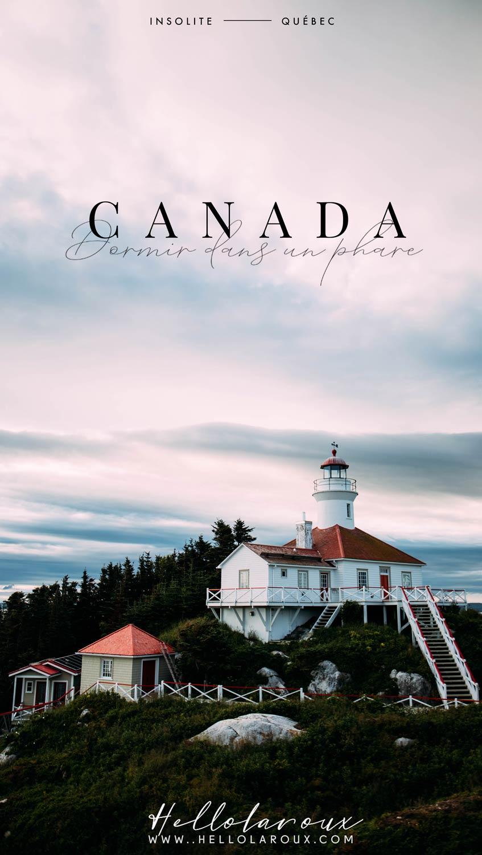 CANADA : dormir dans un phare au Québec