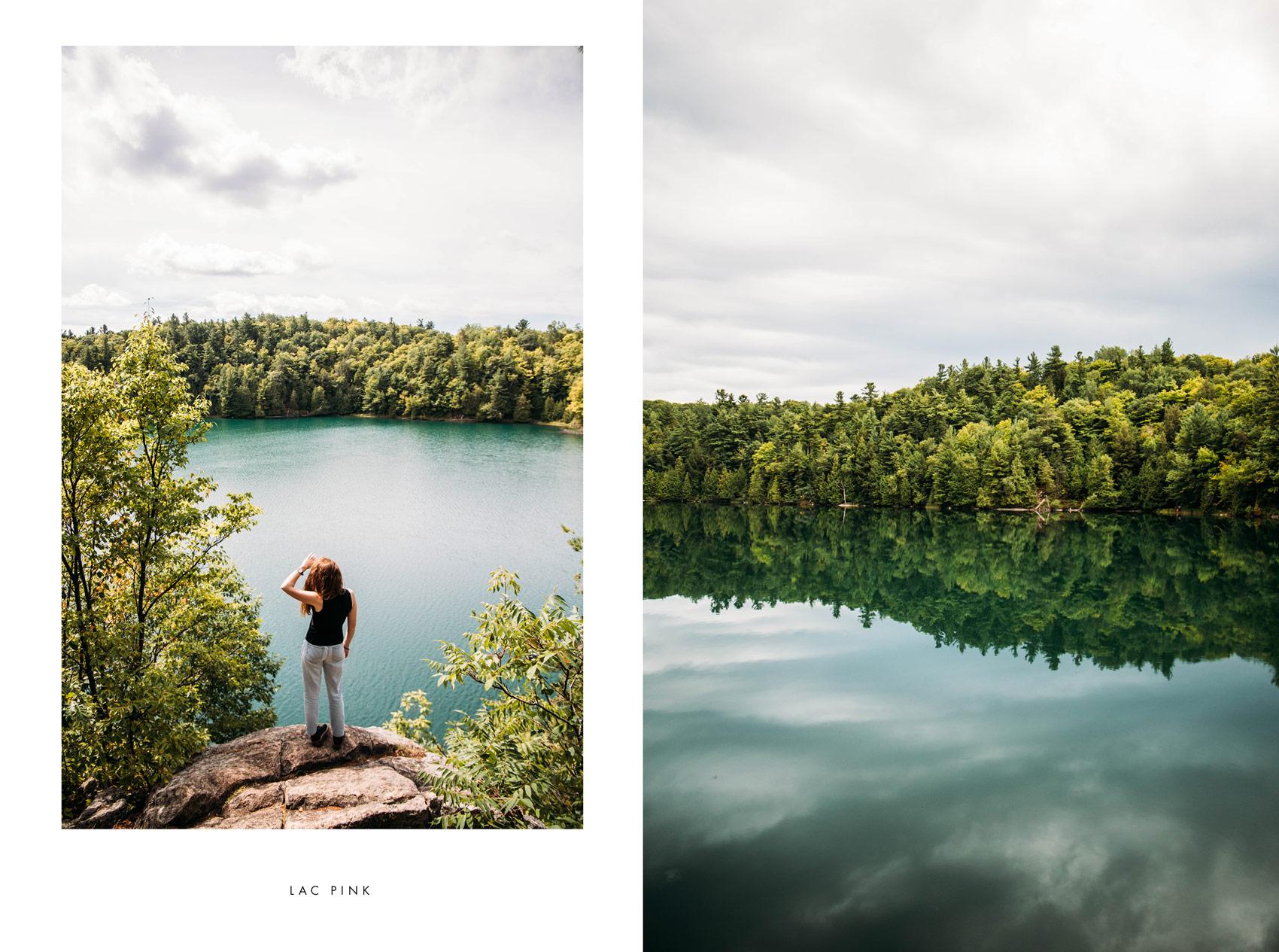 lac pink Parc Gatineau randonner